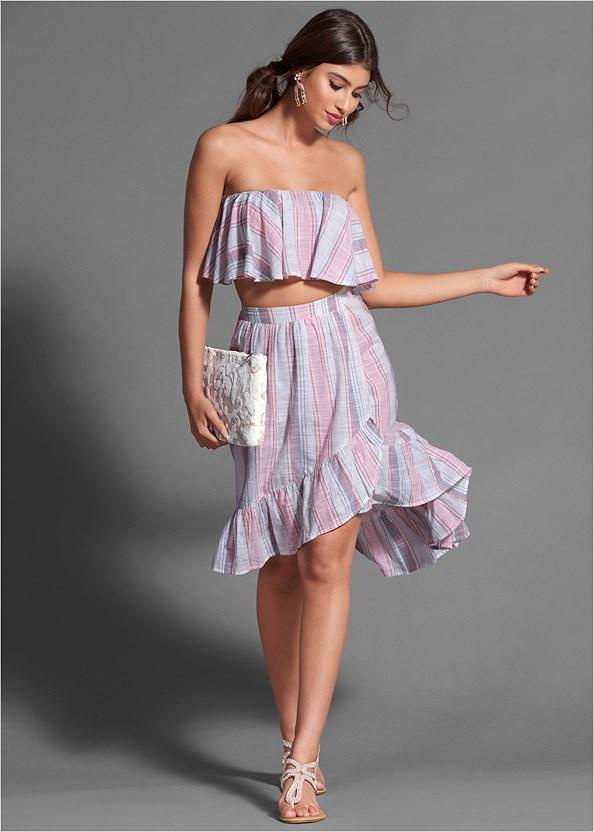 Striped Skirt Set,Embellished Sandals