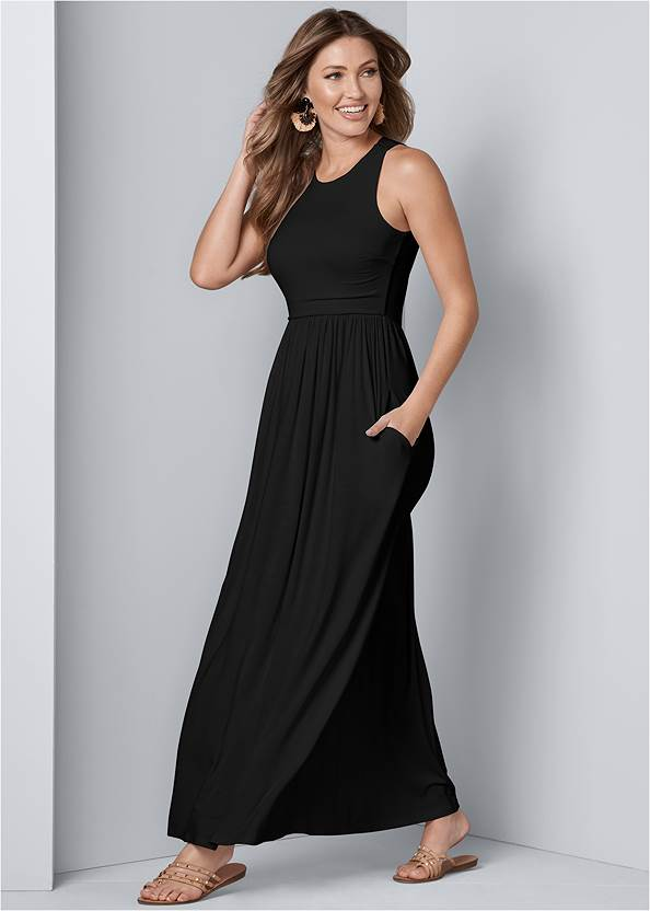 Maxi Dress With Pockets,Quilted Chain Handle Bag