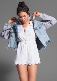Cropped front view Hooded Denim Jacket