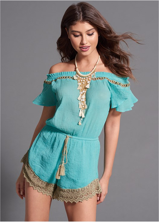 LACE TRIM ROMPER,EVERYDAY YOU STRAPLESS BRA,FRINGE STATMENT NECKLACE