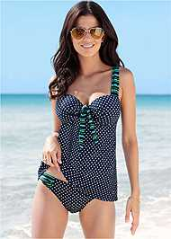 Front View Dotted Tankini Swim Top