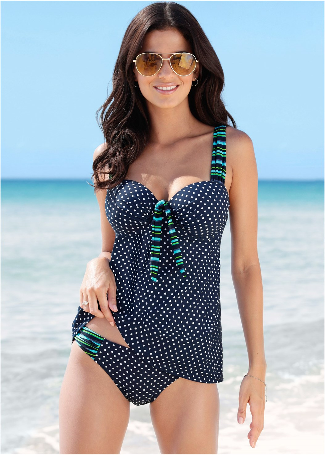 Dotted Bikini Bottoms,Dotted Tankini Swim Top,Flirty Romper Cover-Up