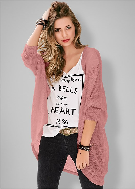 OVERSIZED CARDIGAN,LOVE PRINT TOP