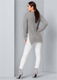 Back View Side Slit Sweater
