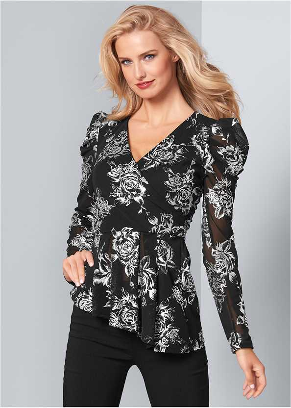 Puff Sleeve Floral Top,Mid Rise Slimming Stretch Jeggings,Satin Lace Bra/Thong Set
