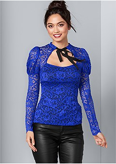 tie neck lace top