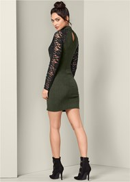 Back View Ribbed Dress With Lace