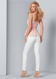 Back View Sequin Lace Peplum Top
