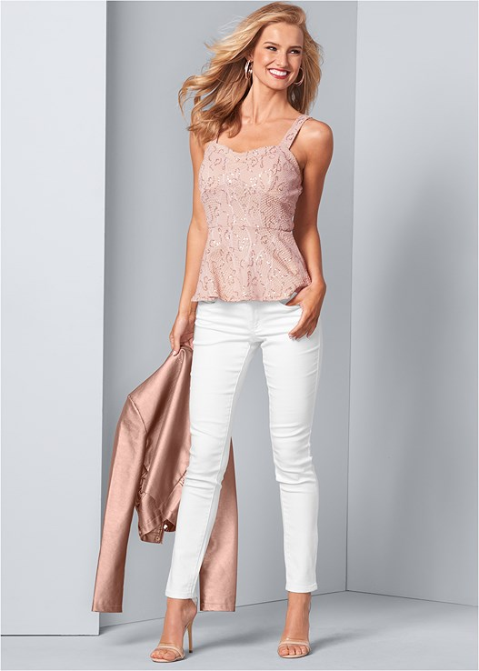 COLOR SKINNY JEANS,SEQUIN LACE PEPLUM TOP,FAUX LEATHER LACE UP JACKET,FULL FIGURE STRAPLESS BRA,LUCITE DETAIL HEELS,RHINESTONE DETAIL HOOPS