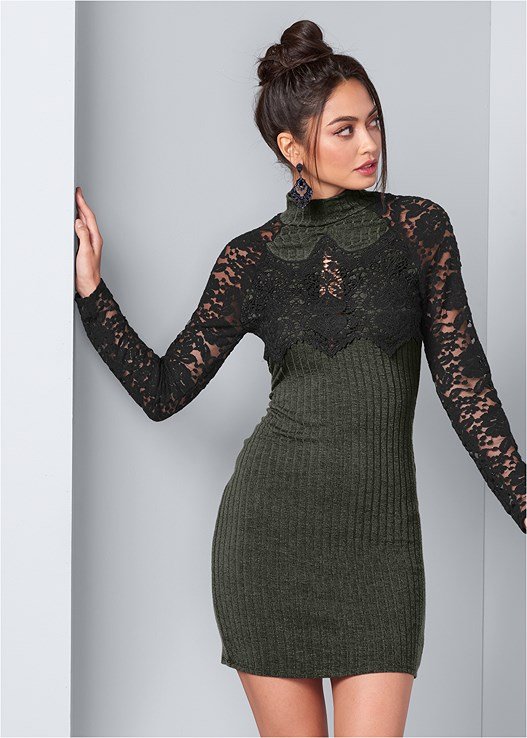 RIBBED DRESS WITH LACE