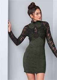 Front View Ribbed Dress With Lace