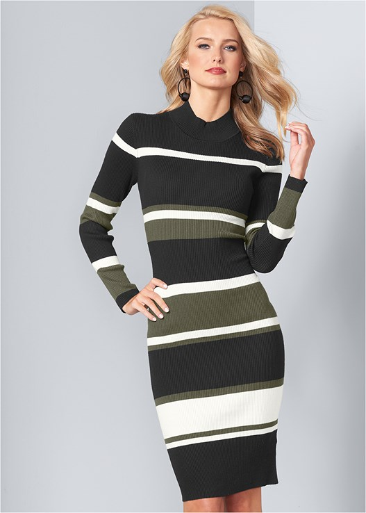 STRIPED SWEATER DRESS,CONFIDENCE SEAMLESS DRESS,LACE UP BOOTIE,BAUBLE HOOP EARRINGS