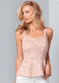Front View Sequin Lace Peplum Top