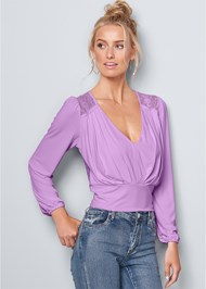 Front View V-Neck Pleated Top
