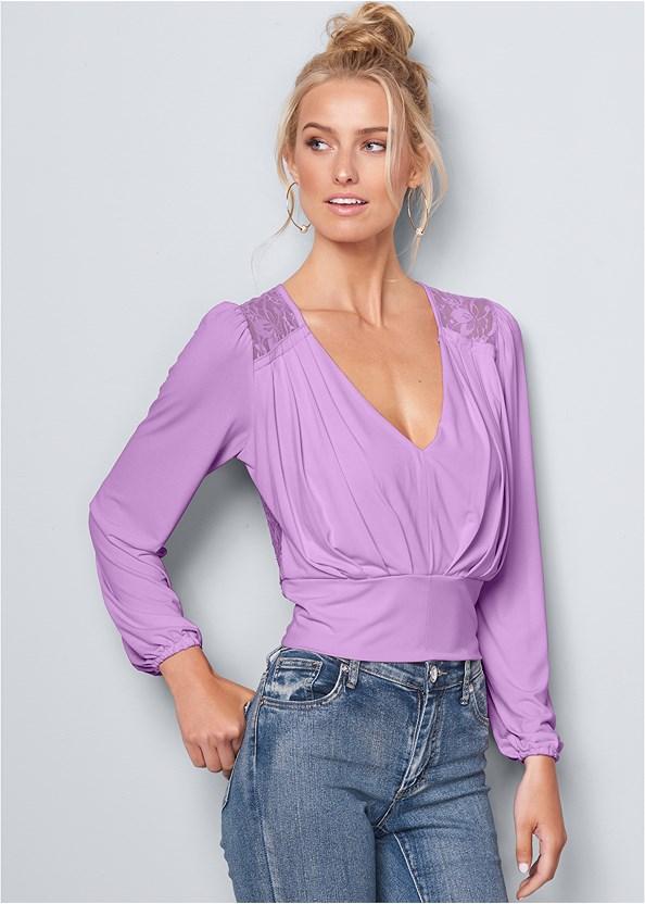 V-Neck Pleated Top,Mid Rise Color Skinny Jeans,Venus Cupid Bra