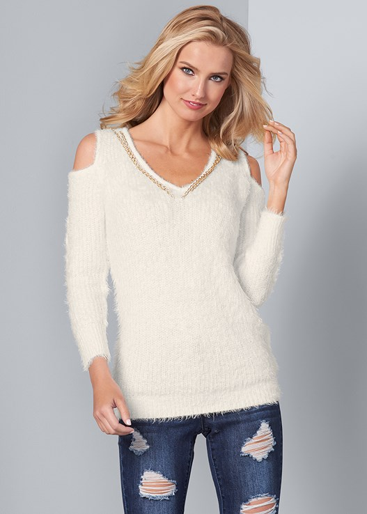 COLD SHOULDER COZY SWEATER,RIPPED BUM LIFTER,CIRCLE DETAIL BOOTIES