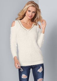 Front View Cold Shoulder Cozy Sweater