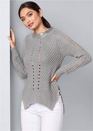 Front View Side Slit Sweater