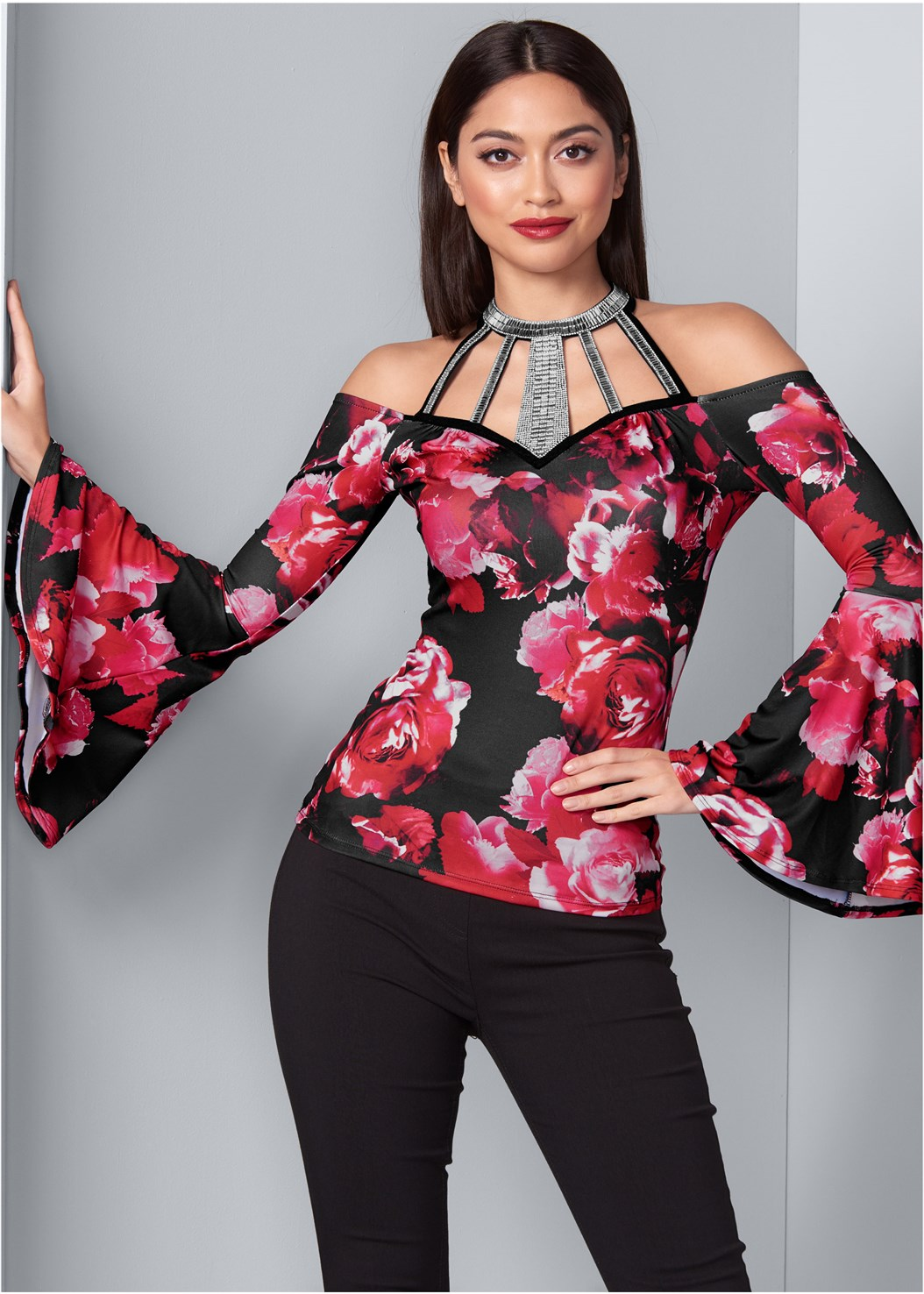 Floral Bell Sleeve Top,Mid Rise Full Length Slimming Stretch Jeggings,Faux Leather Leggings