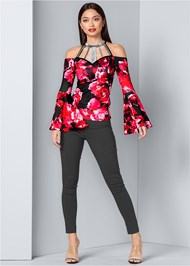 Alternate View Floral Bell Sleeve Top