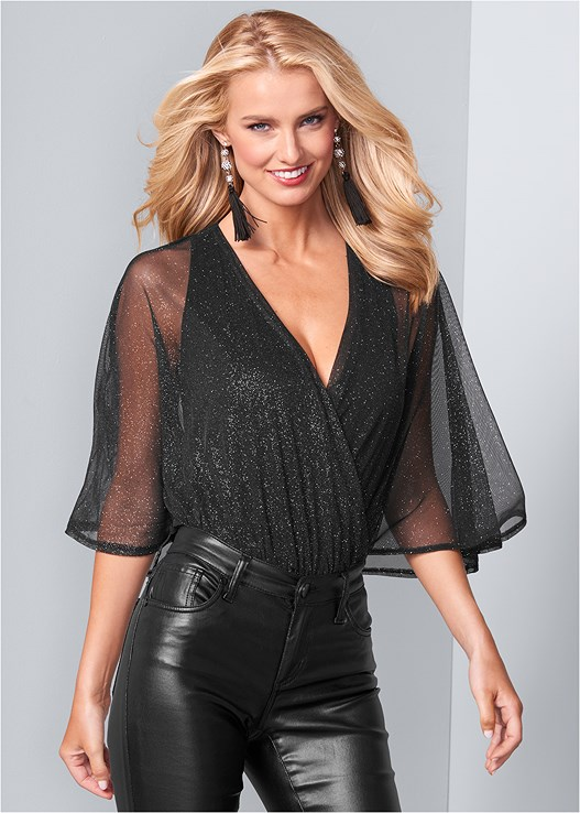 SURPLICE SHIMMER BODYSUIT,FAUX LEATHER PANTS