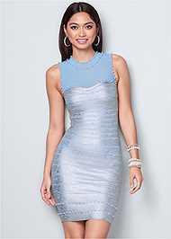 Front View Bandage Metallic Dress