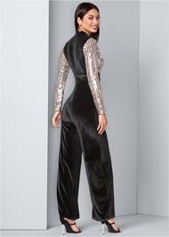 Back View Sequin Velvet Jumpsuit