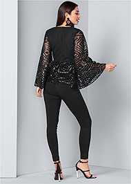 Back View Geometric Sequin Top