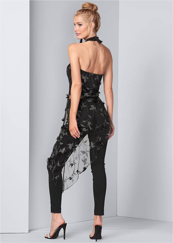 Back View Embroidered Asymmetric Top