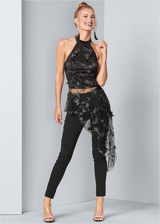 EMBROIDERED ASYMMETRIC TOP,SLIMMING STRETCH JEGGINGS
