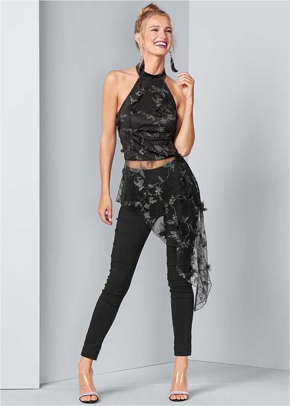 Embroidered Asymmetric Top,Mid Rise Slimming Stretch Jeggings