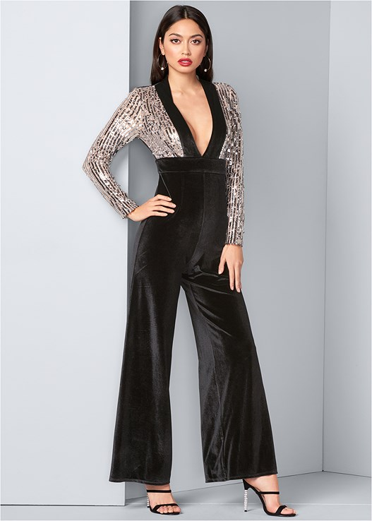 SEQUIN VELVET JUMPSUIT,CUPID U PLUNGE BRA,EMBELLISHED STRAPPY HEEL,EMBELLISHED HOOP EARRINGS