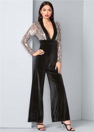 Front View Sequin Velvet Jumpsuit