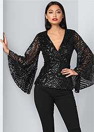Front View Geometric Sequin Top