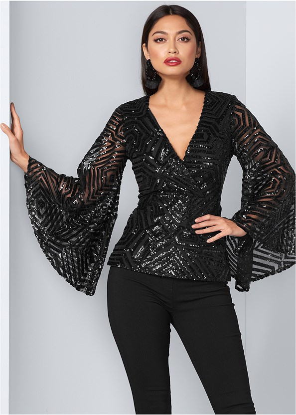 Geometric Sequin Top,Mid Rise Slimming Stretch Jeggings,Embellished Strappy Heel,Beaded Tassel Earrings,Fringe Scarf