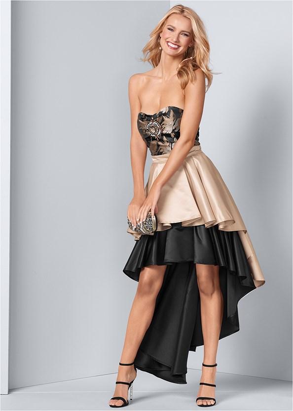 Embellished High Low Dress,Smooth Longline Push Up Bra