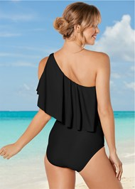 Back View Ruffle Shoulder One-Piece