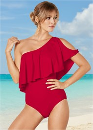 Front View Ruffle Shoulder One-Piece