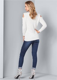 Back View Cold Shoulder Cozy Sweater