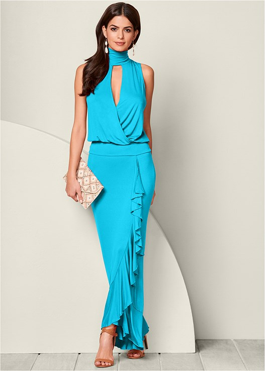 RUFFLE DETAIL MAXI DRESS,RAFFIA DETAIL HEELS