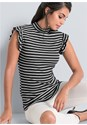 Front View Striped Sleeveless Top