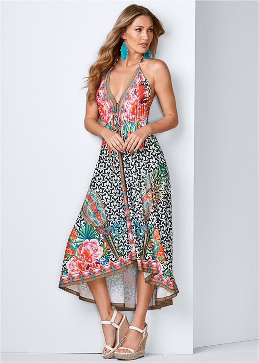PRINTED MAXI DRESS,STUDDED WEDGES,TASSEL EARRINGS