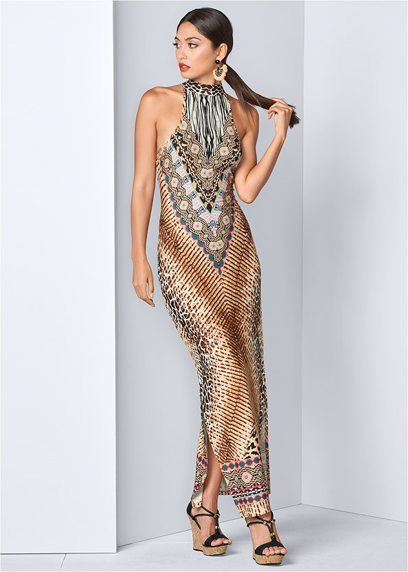 Animal Print Maxi Dress,Braided Detail Wedge