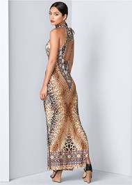 Back View Animal Print Maxi Dress