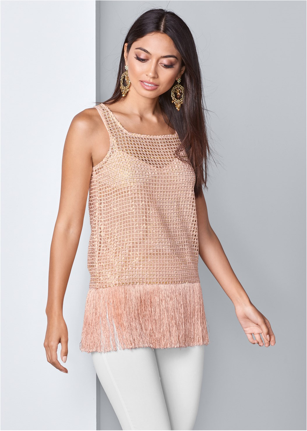 Fringe Detail Sequin Top,Mid Rise Full Length Slimming Stretch Jeggings,Studded Strappy Heels