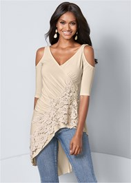Front View Lace Cold Shoulder Top