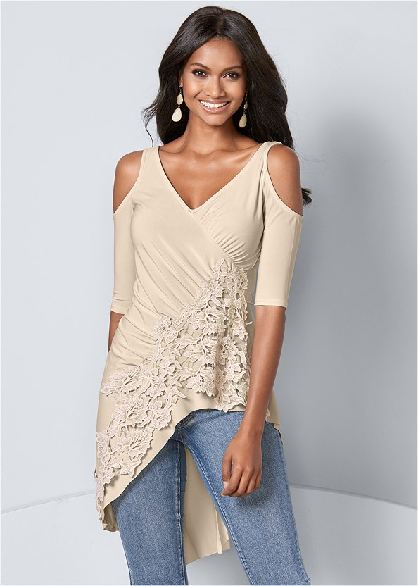 Lace Cold Shoulder Top,Mid Rise Color Skinny Jeans,High Heel Strappy Sandals