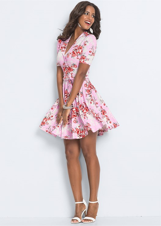 SURPLICE FLORAL DRESS,FLOWER DETAIL HEELS,FRINGE DROP EARRINGS