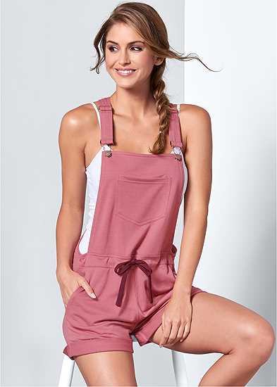 French Terry  Drawstring Short Overalls