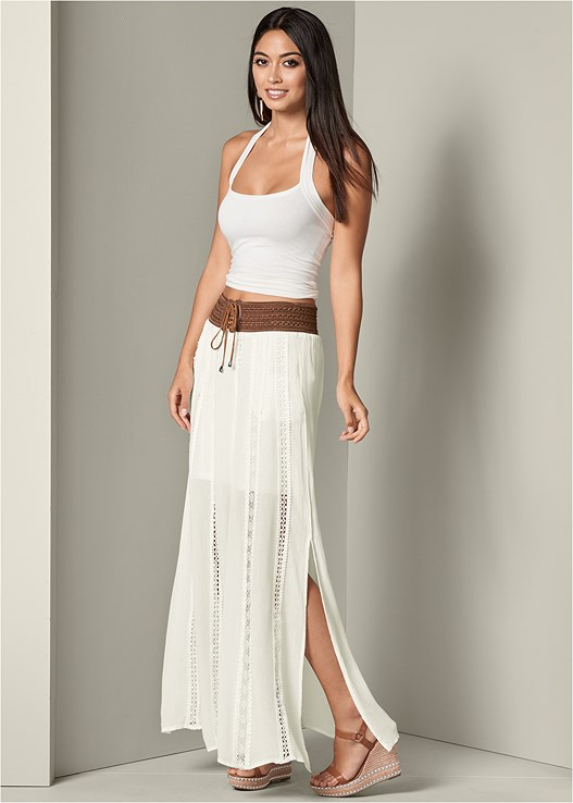 LACE DETAIL MAXI SKIRT,STUDDED WEDGES